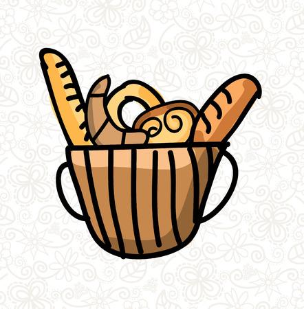 conception de produits de boulangerie sur fond floral illustration vectorielle