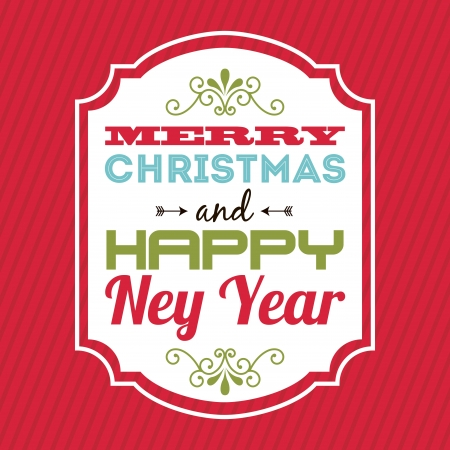 merry christmas and happy new year  over  red background  vector illustration Stock Vector - 22959384