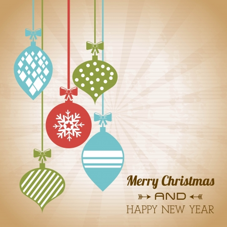 merry christmas and happy new year  over vintage background  vector illustration  Stock Vector - 22959451