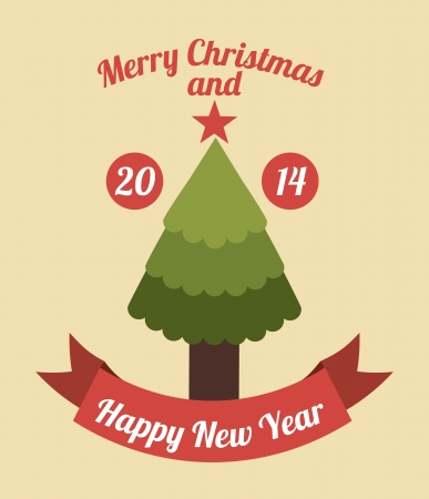 merry christmas and happy new year  over pink background  vector illustration  Stock Vector - 22959504
