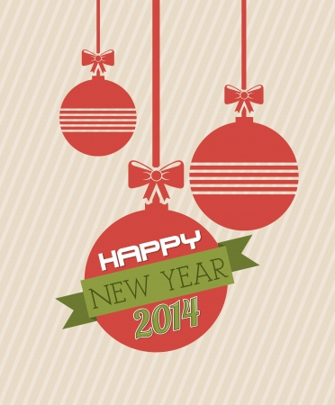 happy new year 2014 over pink lineal background  vector illustration  Stock Vector - 22959201