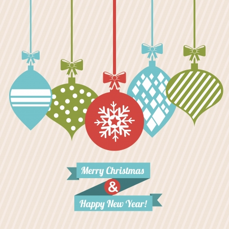 merry christmas and happy new year  over  pink background  vector illustration Stock Vector - 22959203