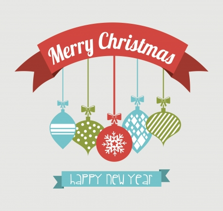 merry christmas and happy new year  over blue background  vector illustration Stock Vector - 22959207