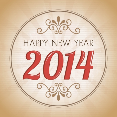 happy new year 2014 over vintage background  vector illustration Stock Vector - 22959215