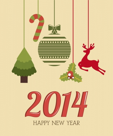 happy new year 2014 over  pink background  vector illustration Stock Vector - 22959218