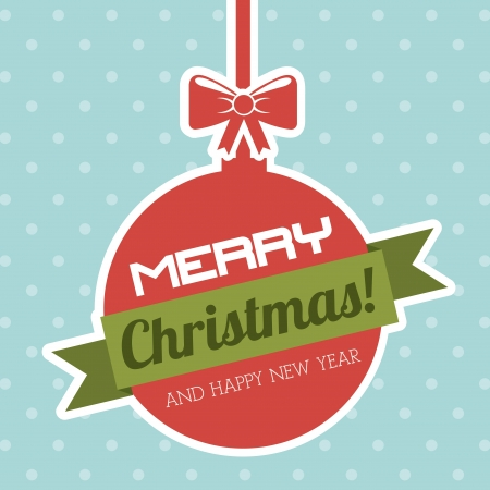 merry christmas and happy new year  over dotted background  vector illustration  Stock Vector - 22959229