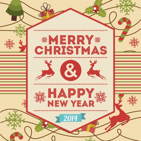 merry christmas and happy new year  over pink  background  vector illustration Stock Vector - 22959185