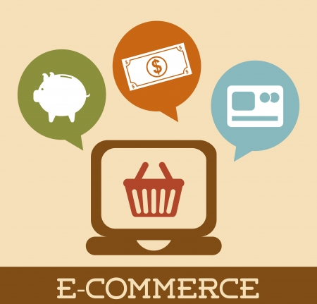 e-commerce design over pink background vector illustration Vector