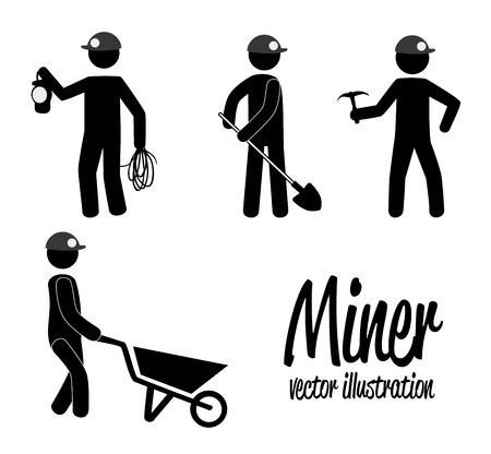 itchy: miner design over white background vector illustration