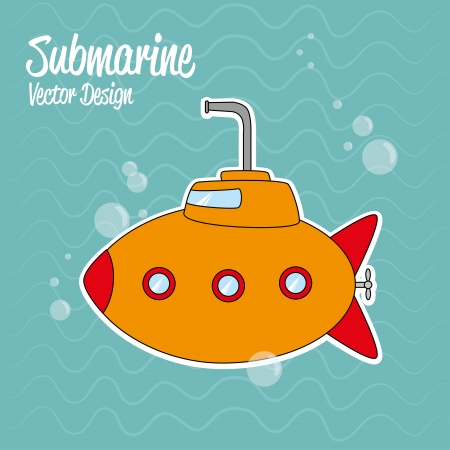 submarine design over water background vector illustration Vector