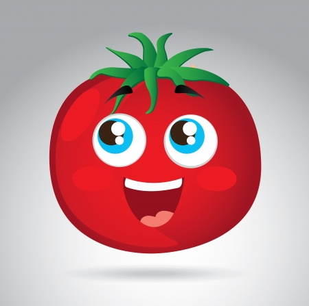 cute tomate cartoon over gray background. vector illustration