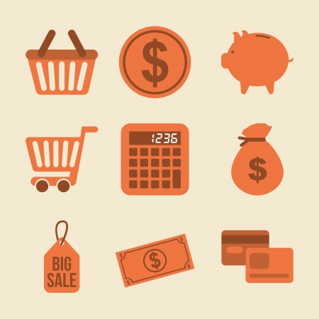 shopping icons over pink background vector illustration Stock Vector - 23063945