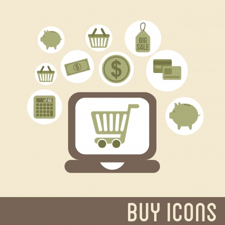 buy icons over pink background vector illustration Stock Vector - 23063950