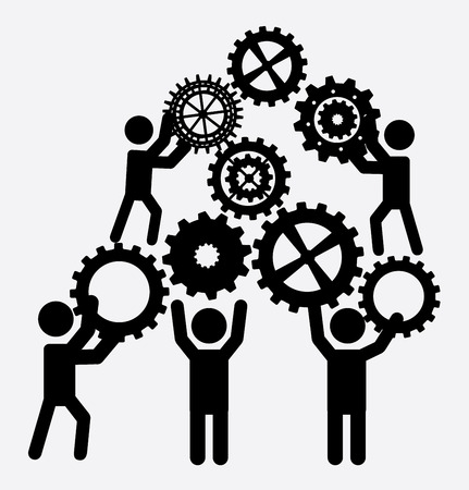 白い背景のベクトル図にチームワークのデザイン