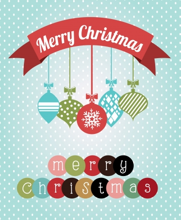 christmas ball: merry christmas  over  dotted background  vector illustration