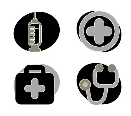 medical icons over gray background vector illustration   Vector