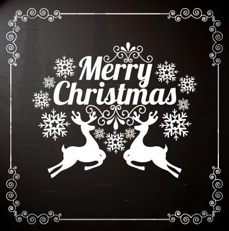 christmas design: vrolijke kerstmis over zwarte achtergrond vector illustratie Stock Illustratie