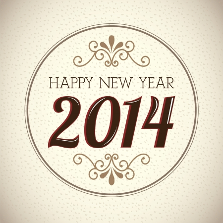 date night: happy new year 2014 over vintage background  vector illustration  Illustration