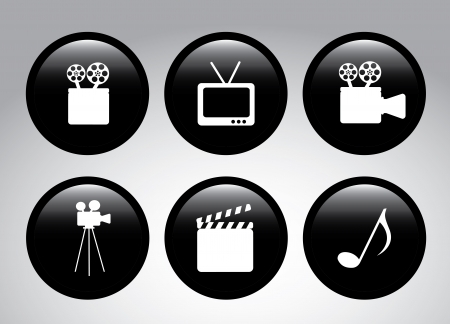 movie icons over gray background vector illustration   Vector