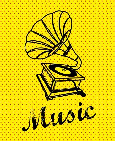 gramophone design over yellow background vector illustration