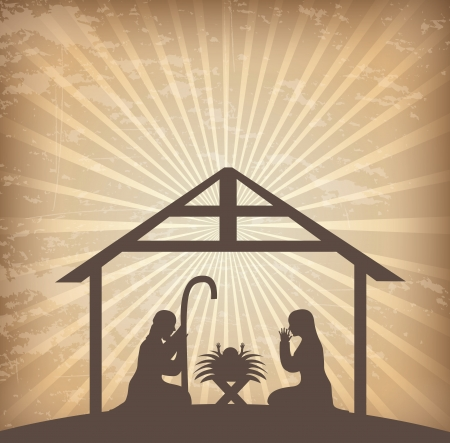 christmas religious: christmas design over grunge background vector illustration