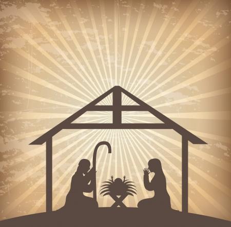 portal de belen: diseño de la Navidad sobre fondo grunge ilustración vectorial Vectores
