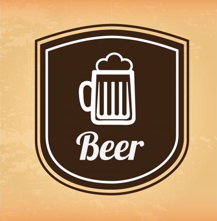 beer label over pink background vector illustration Stock Vector - 23106676