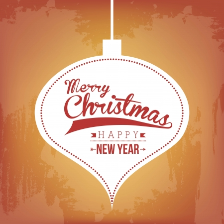 merry christmas and happy new year  over vintage background  vector illustration  Stock Vector - 23107089