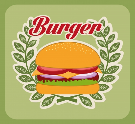 burger design over green background vector illustration Vector