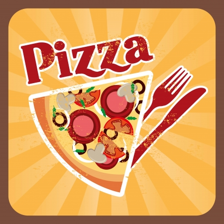 pizza design over cream background vector illustration Vector