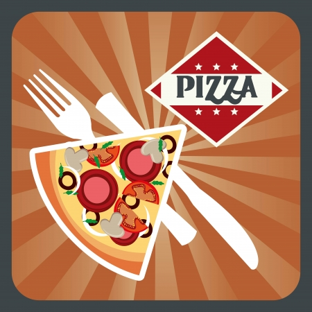 pizza design over grunge background vector illustration Vector