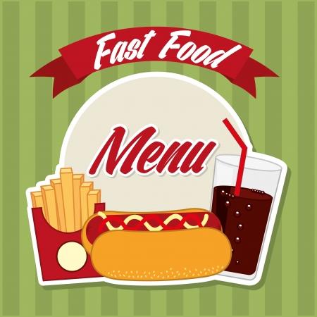 fast food design over green background vector illustration Vector