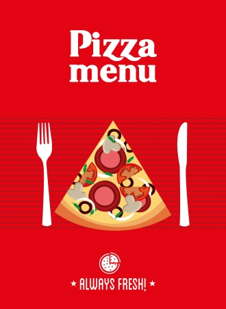pizza design over red background vector illustration Vector