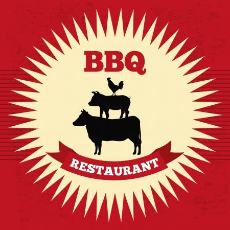 Bbq diseño sobre fondo rojo ilustración vectorial Foto de archivo - 23107822