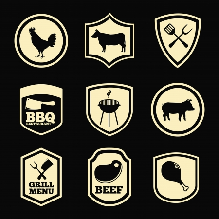 grill menu over black background vector illustration Vector