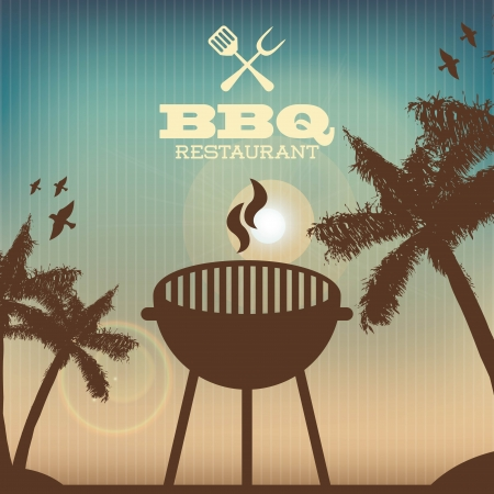 bbq design over pattern  background vector illustration Vector