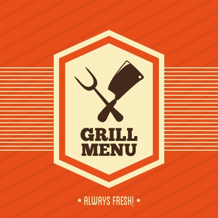 grill menu over orange background vector illustration Vector