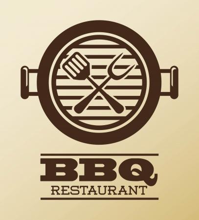 carne a la brasa: bbq dise�o sobre fondo de color rosa ilustraci�n vectorial