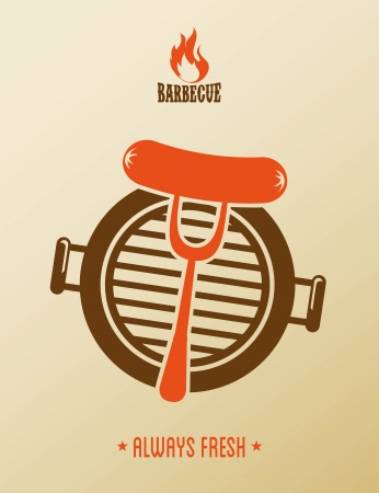 cooking time: bbq design over pink background vector illustration