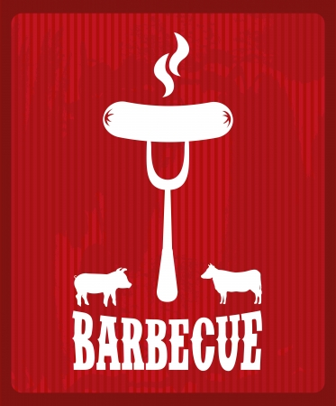 bbq design over  red background vector illustration Vector