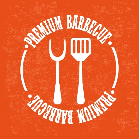 bbq design over orange background vector illustration Vector