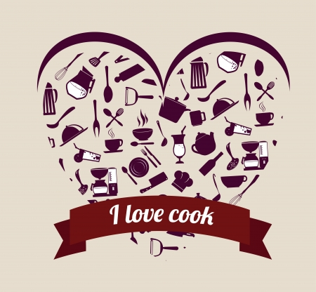 i love cook over pink background vector illustration Vector