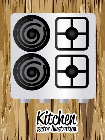 electricals: kitchen design over wooden background vector illustration Illustration
