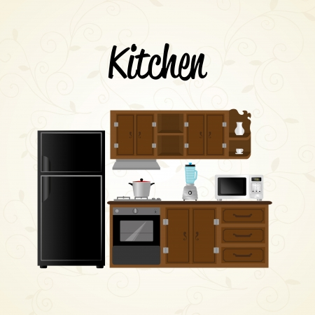 kitchen icons over white background vector illustration Stock Vector - 23109515
