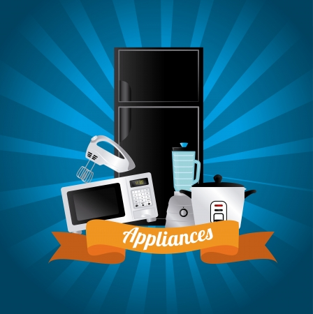 appliances icons over blue background vector illustration Vector