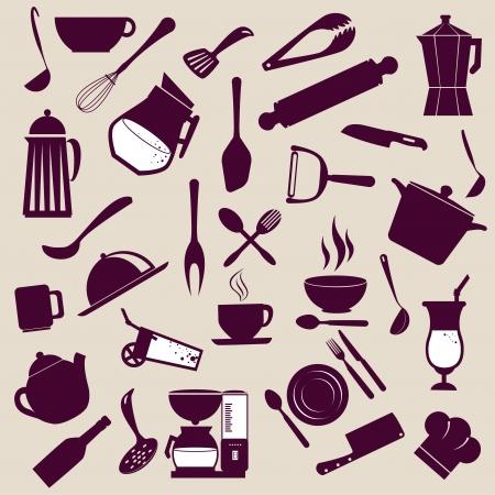 k�che: kitchen icons �ber lila Hintergrund Vektor-Illustration Illustration