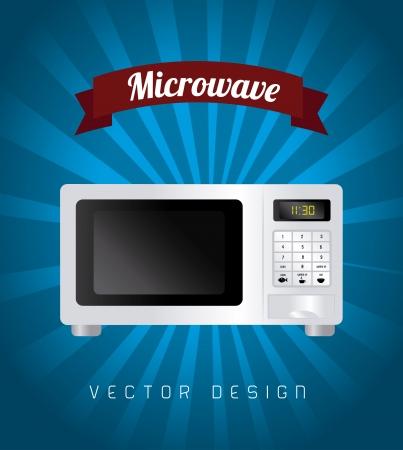 conception de micro-ondes sur fond bleu illustration vectorielle