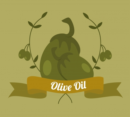 olive oil over green background vector illustration   Vector