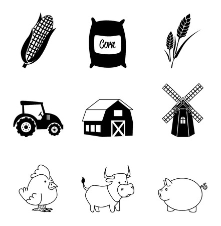 farm icons over white background vector illustration Vector