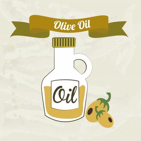 olive oil over beige background vector illustration   Vector